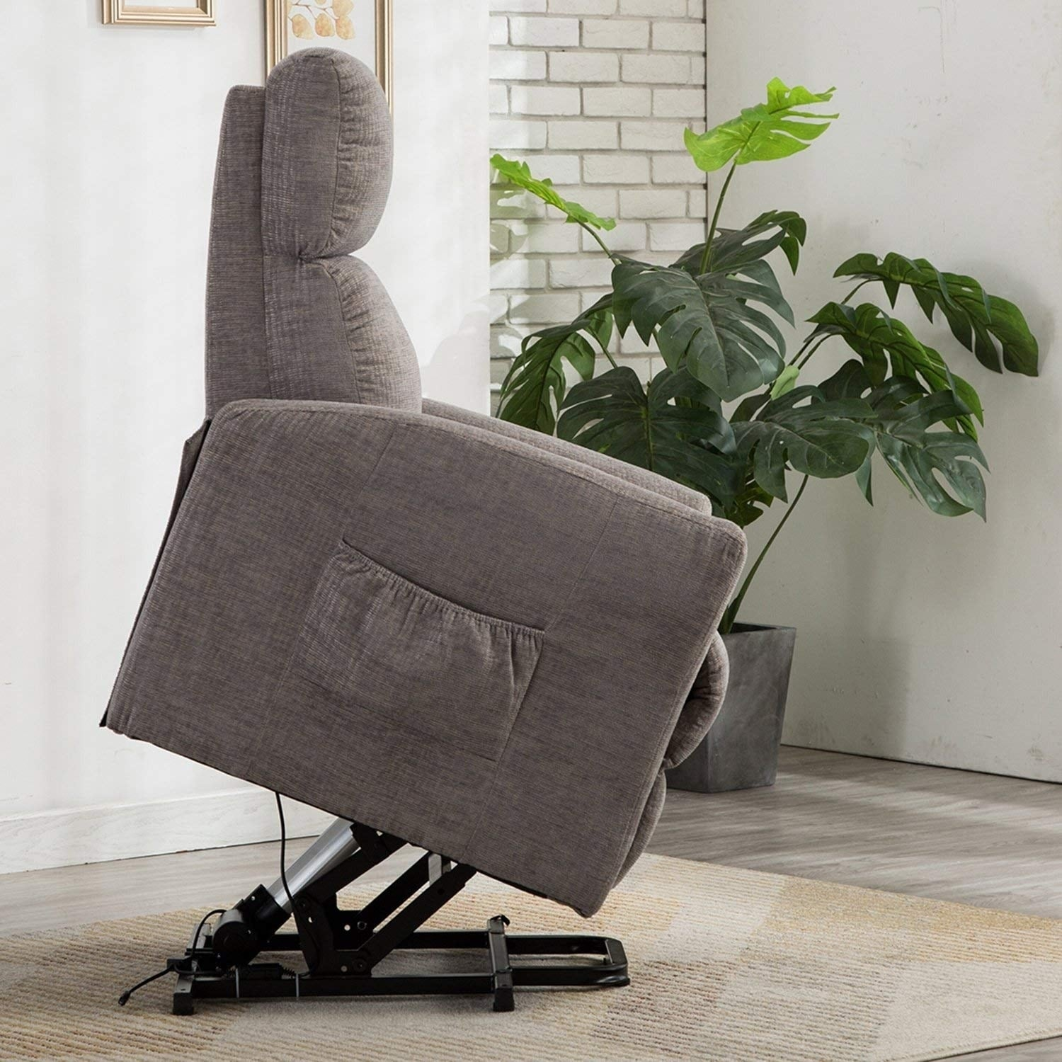 BONZY Lift Recliner Chair Power Lift Chair with Gentle Motor Velvet Cover-Buff