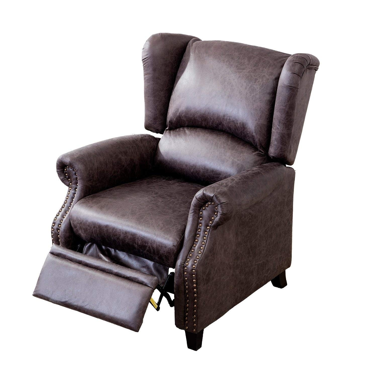 BONZY Recliner Chair with Traditional Wing Back Nailed Triming Covered - Smoke Gray