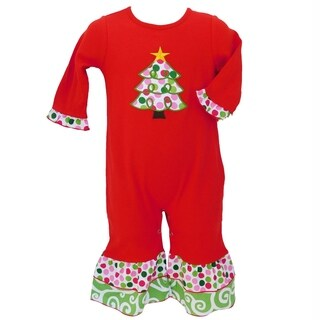 AnnLoren Baby Girls Red & White Christmas Tree Romper Outfit