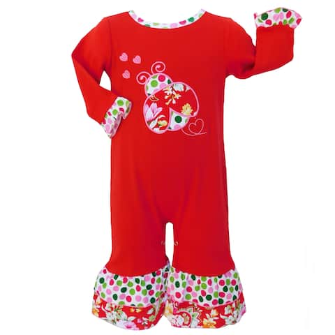 AnnLoren Baby Girls Red Two-Piece Long Sleeve Lady Bug Romper Outfit