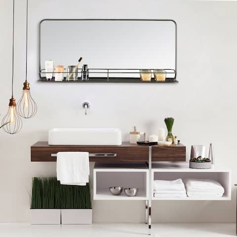"Manom Wall Mirror With Shelf - 36.25"" Length x 5.25"" Width x 16.25"" Height"