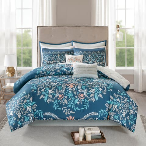 Madison Park Melora 6 Piece Cotton Printed Reversible Coverlet Set 2-Color Option