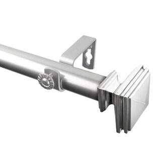 "Rod Desyne Bedpost 1"" Steel Curtain Rod 120""-170"" - Satin Nickel"