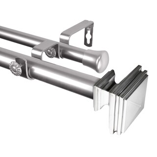 "Rod Desyne Bedpost 1"" Steel Double Curtain Rod 48""-84"" - Satin Nickel"