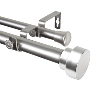"Rod Desyne Bonnet 1"" Steel Double Curtain Rod 120""-170"" - Satin Nickel"
