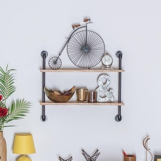 """Terville Two Tier Industrial Pipe Wall Shelf - 24"""" x 8.5"""" x 21"""""""