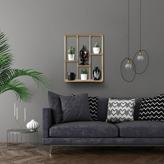 Cadiz Square Floating Wall Shelf (Gold - Wood - Decorative Shelves)