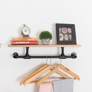 """Vittle Floating Indistrial Pipe Wall Shelf - 24"""" x 8"""" x 6"""""""