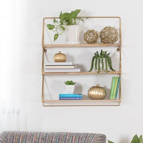 "Leon Three Tier Floating Wall Shelf - 23.75"" x 6.75"" x 28"""