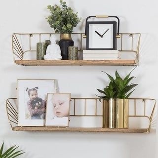 "Link to Santi Floating Wall Shelf - Set of 2 - 30.50"" x 6"" x 7"" Similar Items in Accent Pieces"