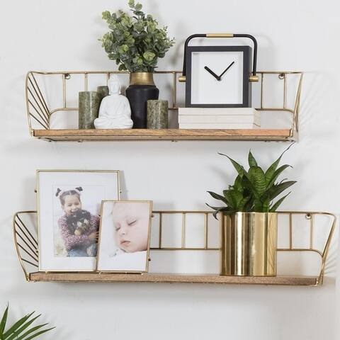 "Santi Floating Wall Shelf - Set of 2 - 30.50"" x 6"" x 7"""