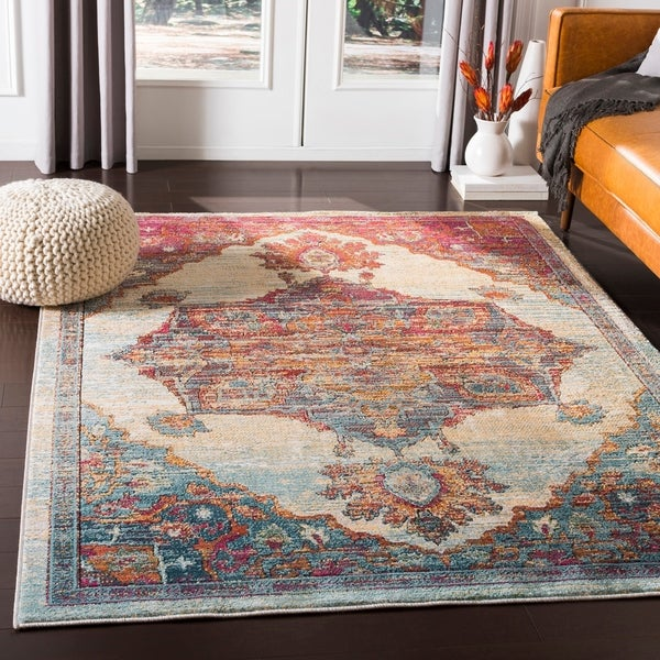 Shop Panra Bohemian Medallion Orange Amp White Area Rug 3