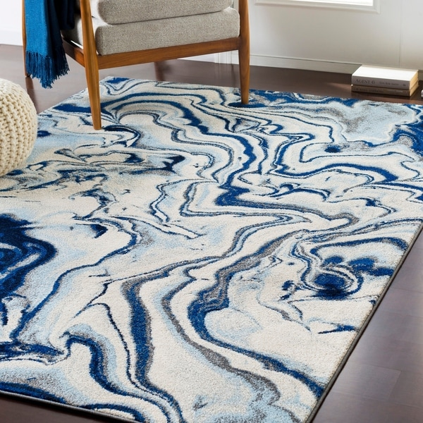 "Cecelia Contemporary Navy Area Rug - 5'3"" x 7'3"""