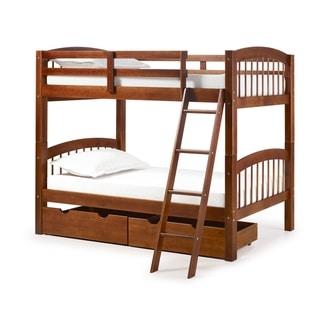 Spindle Solid Wood Twin Over Twin Bunk Bed, Chestnut (Side Rails/Headboard Included/Hidden Storage - Platform Bed/Underbed Storage)
