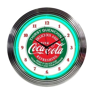 Neonetics Indoor Hand Blown Coca Cola Evergreen Neon Clock