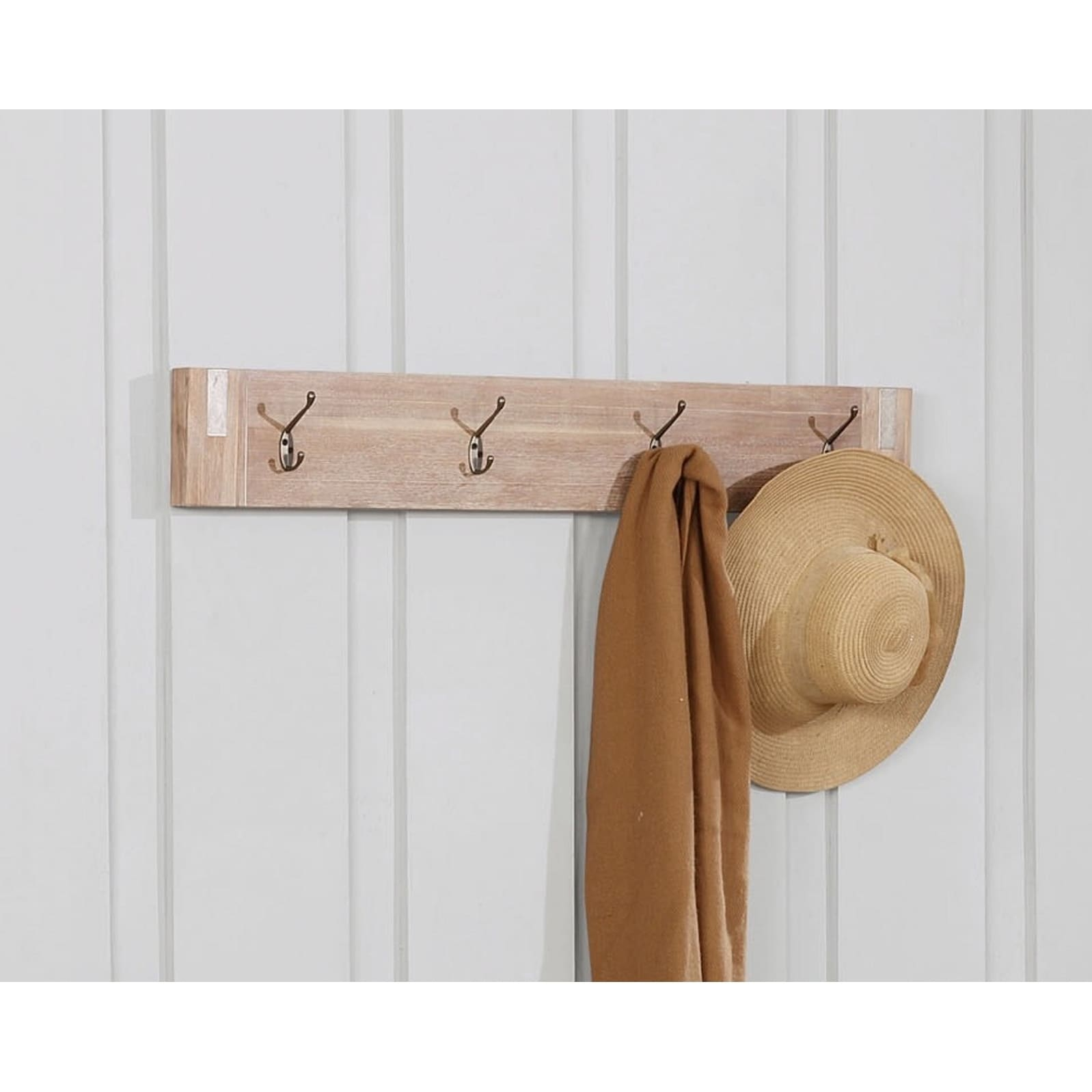 Woodstock Acacia Wood with Metal Inset Coat Hook, Brushed Driftwood