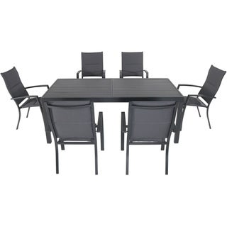 """Nova 7-Piece Outdoor Dining Set with 6 Padded Sling Chairs in Gray and a 63"""" x 35"""" Dining Table"""