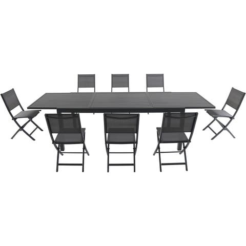 """Cambridge Nova 9-Piece Dining Set with 8 Folding Sling Chairs and a 40"""" x 118"""" Expandable Dining Table"""