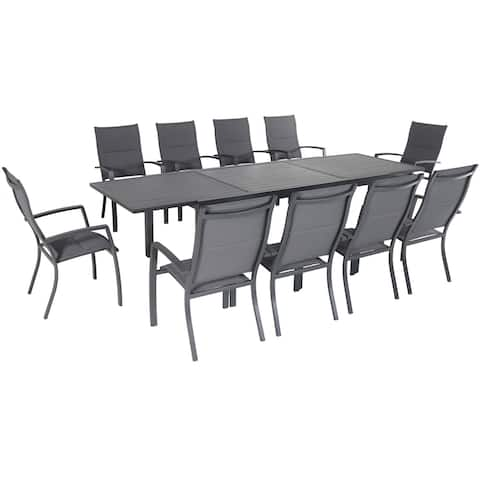 """Cambridge Nova 11-Piece Outdoor Dining Set with 10 Padded Sling Chairs in Gray and a 40"""" x 118"""" Expandable Dining Table"""