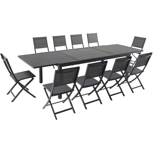 """Cambridge Nova 11-Piece Dining Set with 10 Folding Sling Chairs and a 40"""" x 118"""" Expandable Dining Table"""