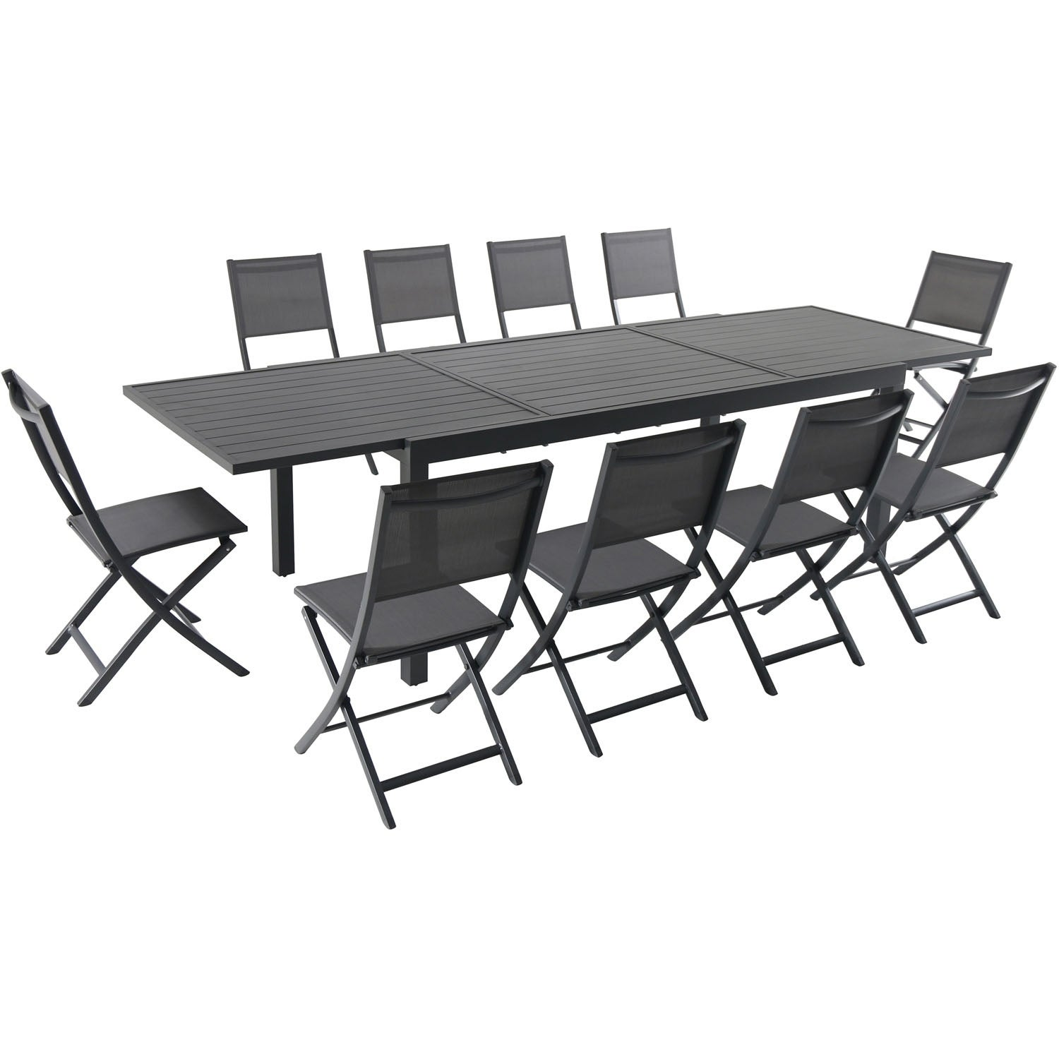 Cambridge Nova 11-Piece Dining Set with 10 Folding Sling Chairs and a 40 x 118 Expandable Dining Table