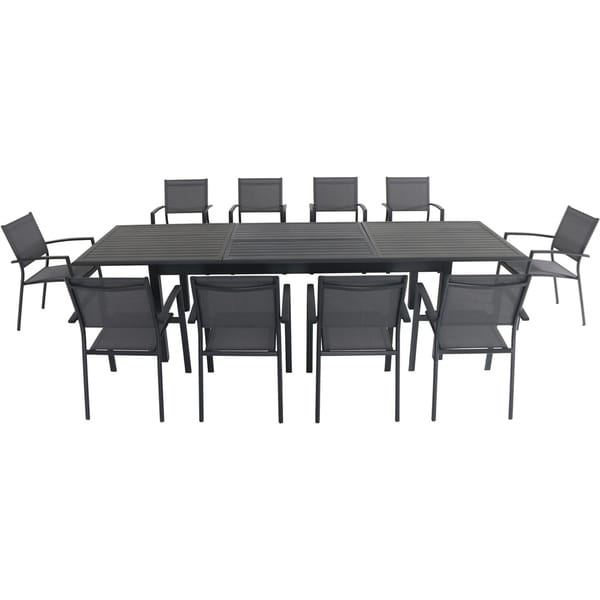 """Cambridge Bryn 11-Piece Dining Set with 10 Sling Chairs and an Expandable 40"""" x 118"""" Table"""