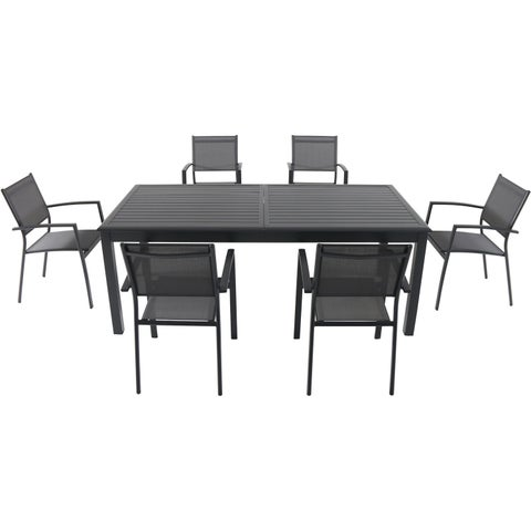 """Cambridge Dawson 7-Piece Dining Set with 6 Sling Chairs and an Expandable 40"""" x 118"""" Table"""