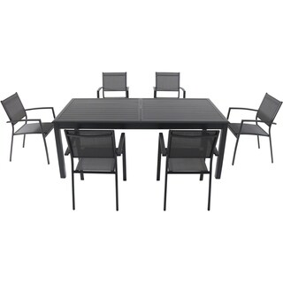 "Cambridge Dawson 7-Piece Dining Set with 6 Sling Chairs and an Expandable 40"" x 118"" Table"
