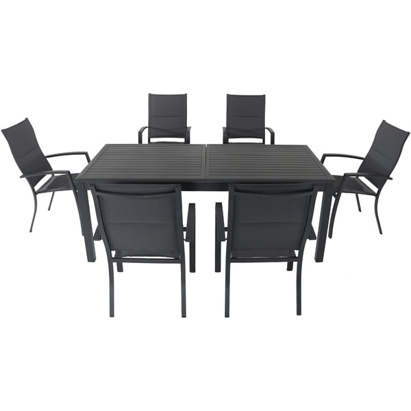 "Cambridge Bryn 7-Piece Dining Set with 6 Padded Sling Chairs and an Expandable 40"" x 118"" Table"