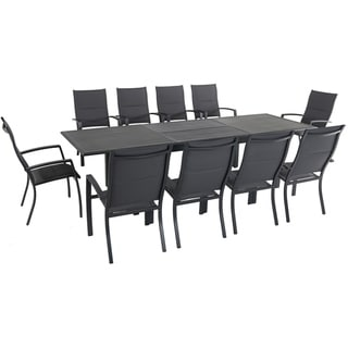 """Cambridge Bryn 11-Piece Dining Set with 10 Padded Sling Chairs and an Expandable 40"""" x 118"""" Table"""