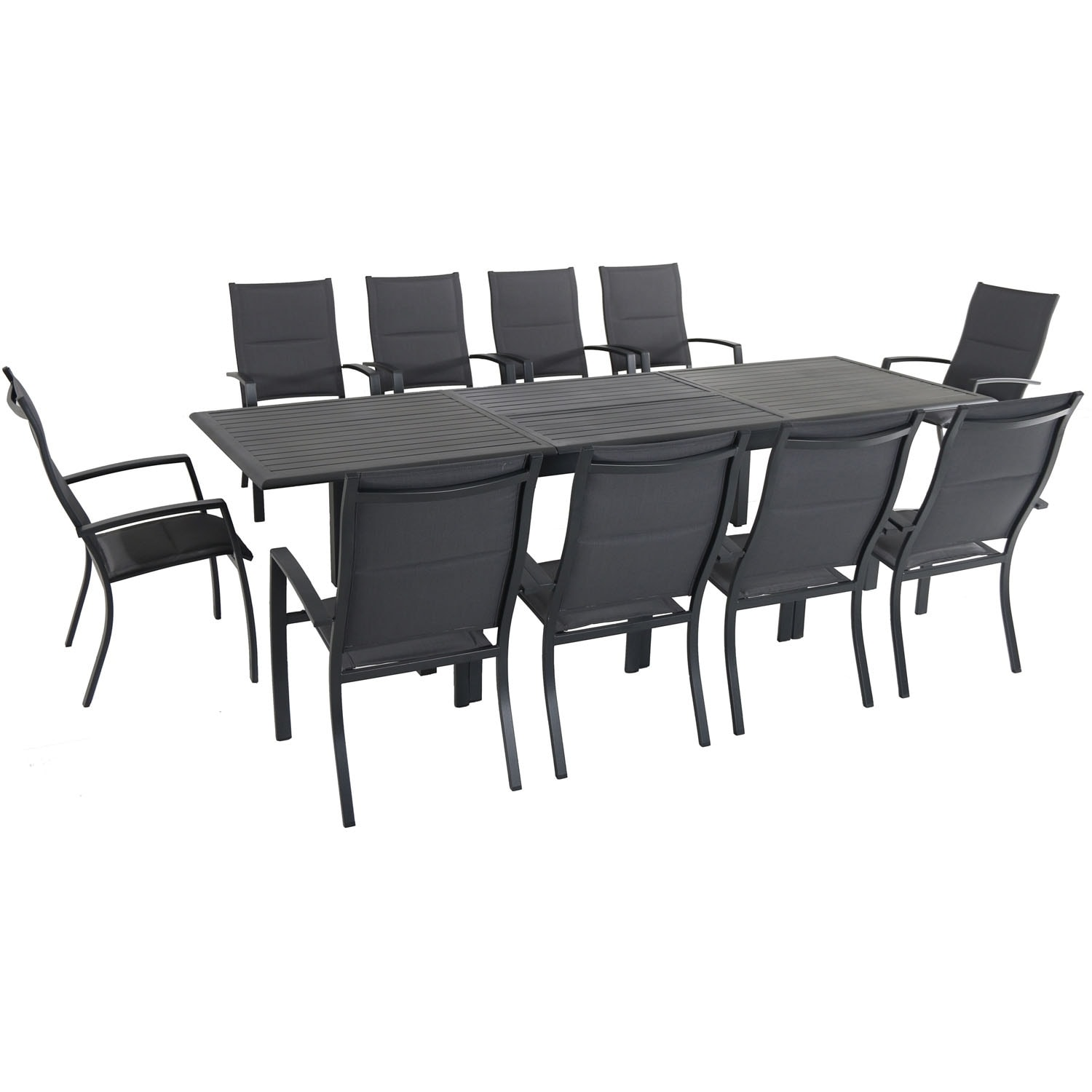 Cambridge Bryn 11-Piece Dining Set with 10 Padded Sling Chairs and an Expandable 40 x 118 Table