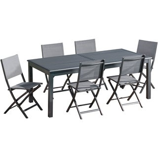 """Cambridge Bryn 7-Piece Dining Set with 6 Folding Sling Chairs and an Expandable 40"""" x 118"""" Table"""