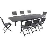 """Cambridge Bryn 9-Piece Dining Set with 8 Folding Sling Chairs and an Expandable 40"""" x 118"""" Table"""