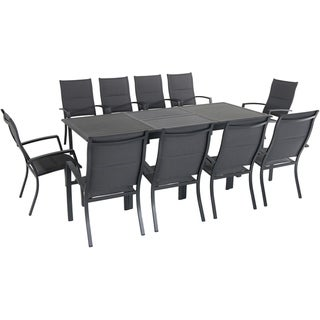 """Cambridge Turner 11-Piece Expandable Dining Set with 10 Padded Sling Dining Chairs and a 40"""" x 94"""" Table"""