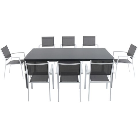 """Cambridge Mesa 9-Piece Outdoor Dining Set with 8 Sling Arm Chairs and a 42"""" x 83"""" Glass-Top Table"""