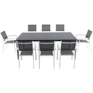 "Cambridge Mesa 9-Piece Outdoor Dining Set with 8 Sling Arm Chairs and a 42"" x 83"" Glass-Top Table"