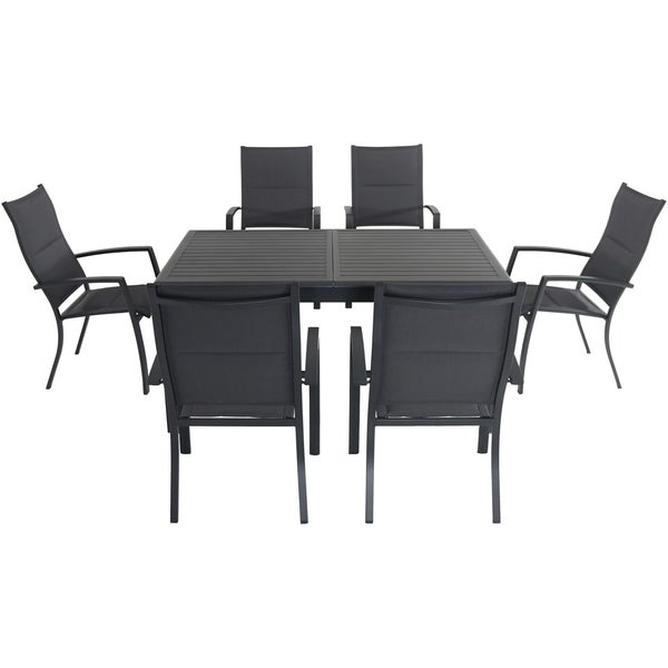 """Cambridge Turner 7-Piece Expandable Dining Set with 6 Padded Sling Dining Chairs and a 40"""" x 94"""" Table"""