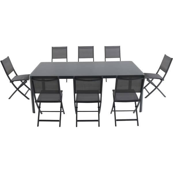 """Cambridge Mesa 9-Piece Outdoor Dining Set with 8 Folding Chairs and a 43"""" x 82"""" Glass-Top Table"""