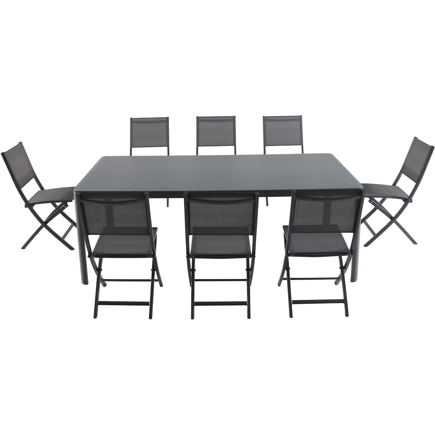 Cambridge Mesa 9-Piece Outdoor Dining Set with 8 Folding Chairs and a 43 x 82 Glass-Top Table