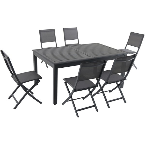 """Cambridge Turner 7-Piece Expandable Dining Set with 6 Folding Sling Chairs and a 40"""" x 94"""" Table"""