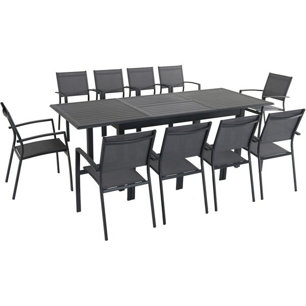 """Cambridge Turner 11-Piece Expandable Dining Set with 10 Sling Dining Chairs and a 40"""" x 94"""" Table"""