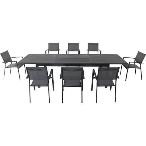 """Cambridge Byrn 9-Piece Dining Set with 8 Sling Chairs and an Expandable 40"""" x 118"""" Table"""