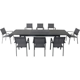 "Cambridge Byrn 9-Piece Dining Set with 8 Sling Chairs and an Expandable 40"" x 118"" Table"