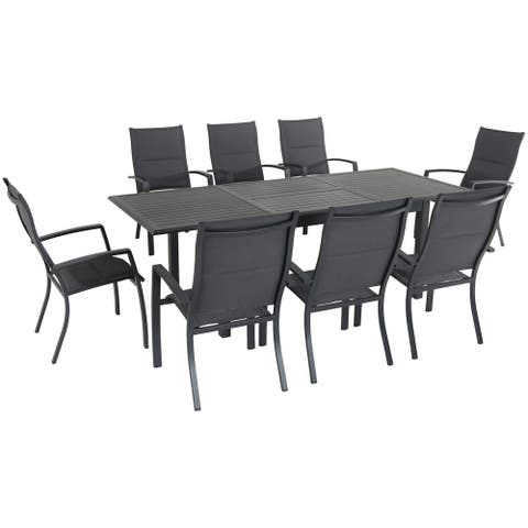 """Cambridge Turner 9-Piece Expandable Dining Set with 8 Padded Sling Dining Chairs and a 40"""" x 94"""" Table"""