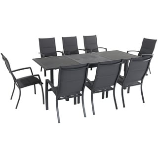 "Cambridge Turner 9-Piece Expandable Dining Set with 8 Padded Sling Dining Chairs and a 40"" x 94"" Table"