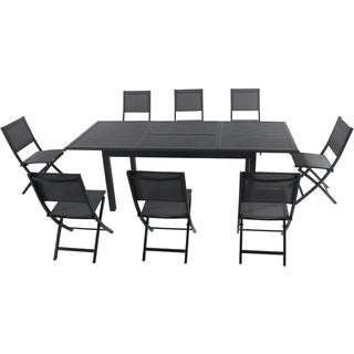 "Cambridge Turner 9-Piece Expandable Dining Set with 8 Folding Sling Chairs and a 40"" x 94"" Table"