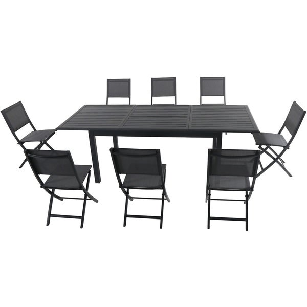 """Cambridge Turner 9-Piece Expandable Dining Set with 8 Folding Sling Chairs and a 40"""" x 94"""" Table"""