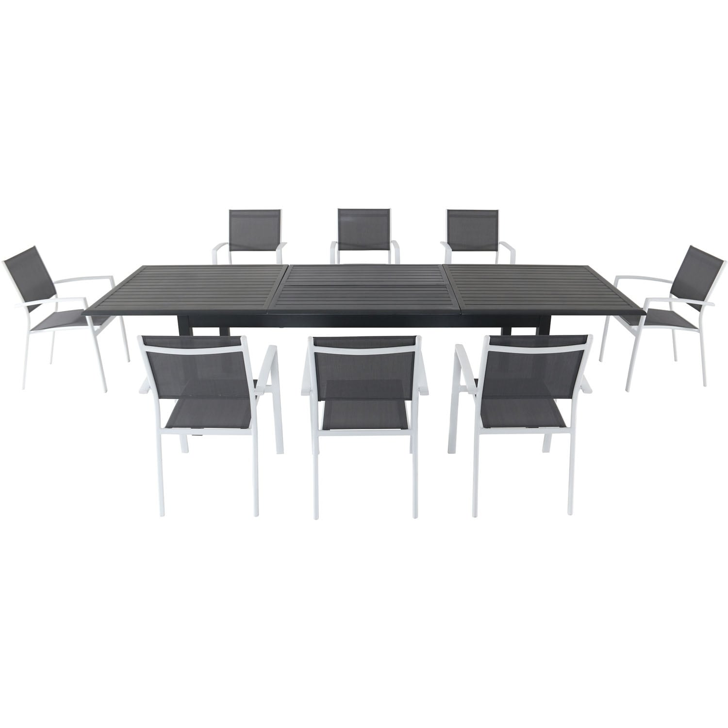 Cambridge Byrn 9-Piece Dining Set with 8 Sling Chairs and an Expandable 40 x 118 Table