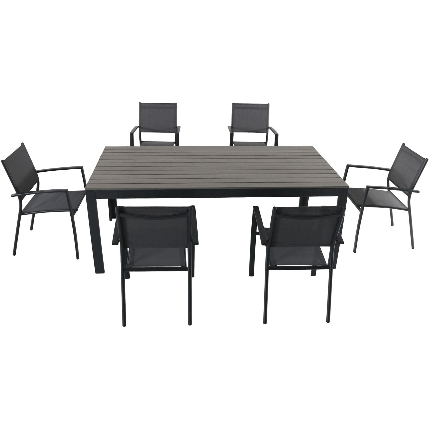 Cambridge Yuma 7-Piece Dining Set with 6 Sling Arm Chairs and a Faux Wood Dining Table
