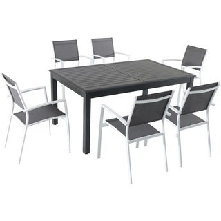 """Cambridge Turner 7-Piece Expandable Dining Set with 6 Sling Dining Chairs and a 40"""" x 94"""" Table"""